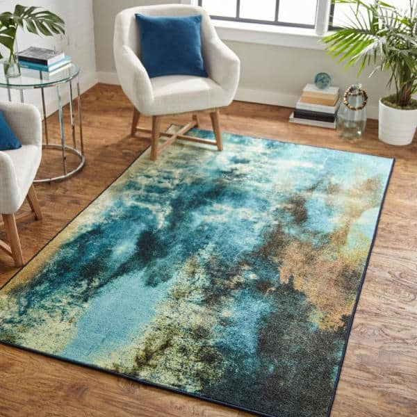 Mohawk Home Glacier Water 8 Ft X 10 Ft Abstract Area Rug 049063 The Home Depot