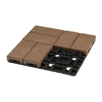 4 in. x 8 in. Olive Composite Resurfacing Paver Grid System (8 Pavers and 1 Grid)