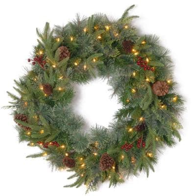 30 in. Colonial Artificial Wreath with Clear Lights