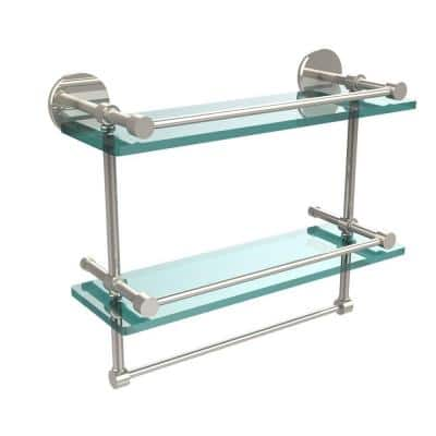 16 in. L  x 12 in. H  x 5 in. W 2-Tier Gallery Clear Glass Bathroom Shelf with Towel Bar in Polished Nickel