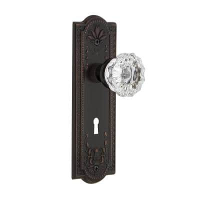 Meadows Plate with Keyhole 2-3/8 in. Backset Timeless Bronze Privacy Bed/Bath Crystal Glass Door Knob