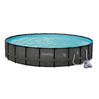 Depth 24 ft. x 52 in. Round 21 in. D Above Ground Frame Swimming Pool Set with Sand Pump