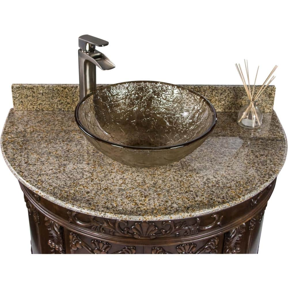 Jsg Oceana Semi Circle 36 9 In W X 23 In D Bath Vanity In Espresso With Granite Vanity Top In Beige With Fawn Basin Scr Esp 003 120 The Home Depot