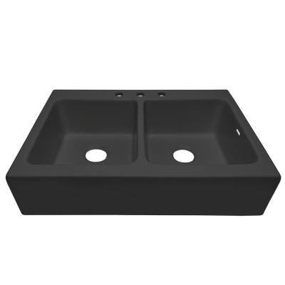 Josephine Summer Night Matte Black Fireclay 33.85 in. 3-Hole Double Bowl Quick-Fit Drop-In Farmhouse Apron Kitchen Sink