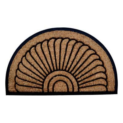 Sunrise 30 in. x 18 in. Natural Brushed Rubber Backed Coir Door Mat