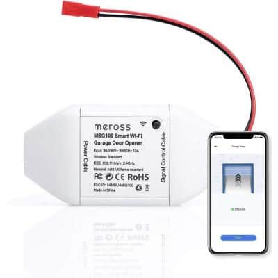 Meross Wi-Fi Smart Garage Door Opener Remote Compatible with Alex and Google Assistant in White