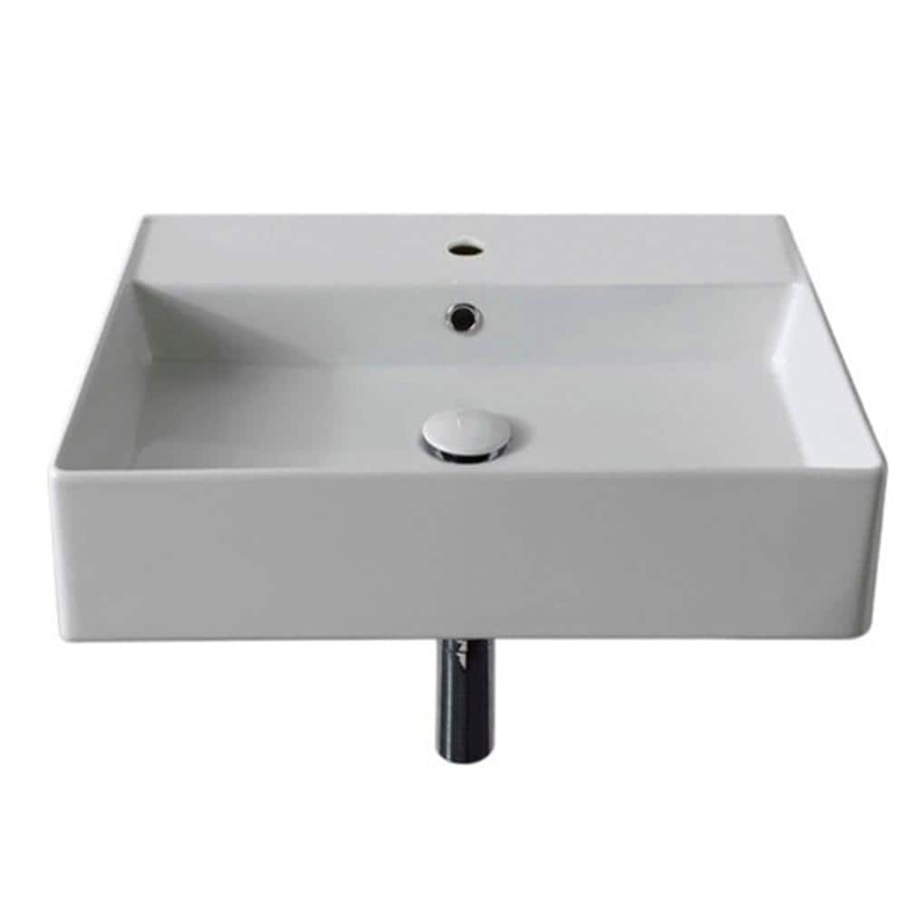Nameeks Teorema Wall Mounted Bathroom Sink In White Scarabeo 5111 One Hole The Home Depot