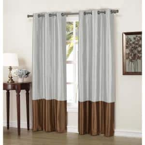 Chocolate Striped Thermal Blackout Curtain - 37 in. W x 84 in. L (Set of 2)