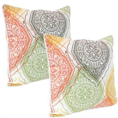 16 in. Damask Mandalas Outdoor Throw Pillows (Set of 2)