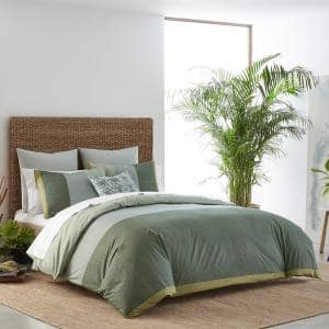 Chambray Color Block 3-Piece Green Striped Cotton Full/Queen Duvet Cover Set