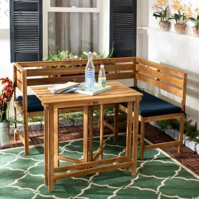 Wilton Natural Brown 2-Piece Wood Outdoor Bistro Set with Navy Cushions