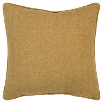 Gold Solid Poly Filled 20 in. x 20 in. Decorative Throw Pillow