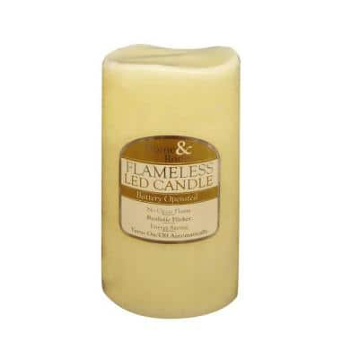 3 in. x 6 in. Flameless LED Candle Solid Ivory Vanilla Scented