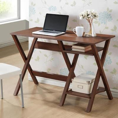 43 in. Rectangular Brown Writing Desks with Storage