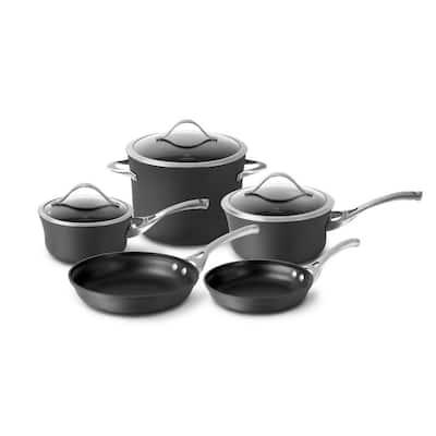Contemporary 8-Piece Hard-Anodized Aluminum Nonstick Cookware Set in Black
