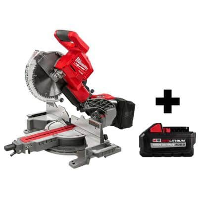 M18 FUEL 18-Volt Lithium-Ion Brushless Cordless 10 in. Dual Bevel Sliding Compound Miter Saw W/ Free 8.0Ah Battery
