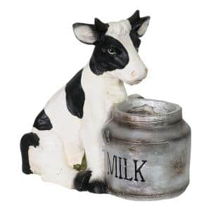 Cow and Milk Pail 5.5 in. Dia White Resin Pot