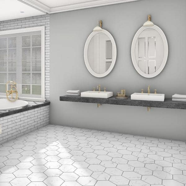 Merola Tile Timeless Calacatta Hex 8 5 8 In X 9 7 8 In Porcelain Floor And Wall Tile 11 56 Sq Ft Case Fcd10tcx The Home Depot