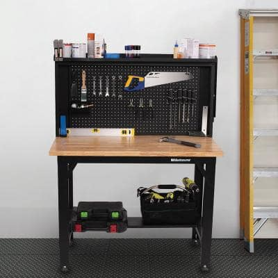 4 ft. Adjustable Height Steel Workbench with Solid Wood Top and Pegboard Back Wall