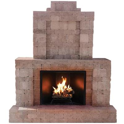 RumbleStone 84 in. x 38.5 in. x 94.5 in. Outdoor Stone Fireplace in Greystone