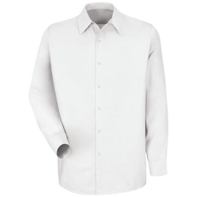 Men's Size L White Specialized Pocketless Work Shirt