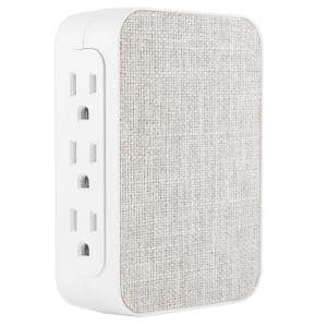 6-Outlet Side Access Surge Protector Wall Tap with Fabric Cover
