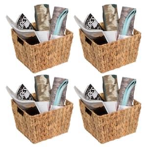 8 in. H x 10 in. W x 11.5 in. D Brown Wicker Cube Storage Bin 4-Pack