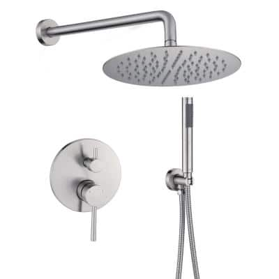 Shower System Wall Mounted with 10 in. Round Rainfall Shower head and Handheld Shower Head Set, Brushed Nickel