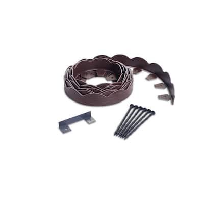 20 ft. Brown Scalloped Woodgrain Plastic No-Dig Edging Kit