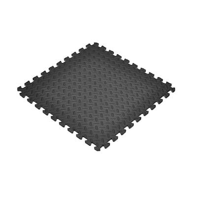 Black 24 in. x 24 in. Foam Interlocking Gym Flooring (24 sq. ft.) (6-Pack)
