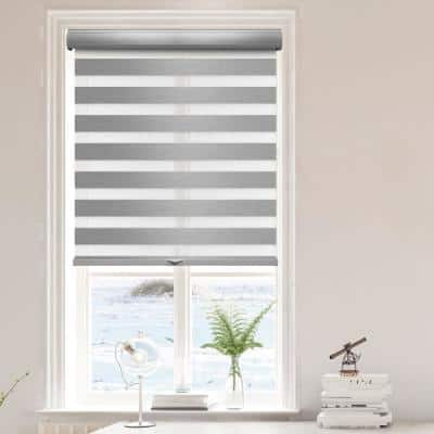 Zebra Gray Cordless Blackout Dual Layered Polyester Roller Shade 36 in. W x 72 in. L