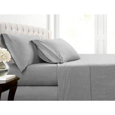 Heather Jersey Grey Solid Standard Pillowcase (Set of 2)