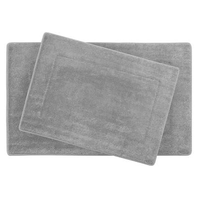 Terry Light Gray 20 in. x 32 in Microfiber Memory Foam. 2-Piece Set Bath Mat Set