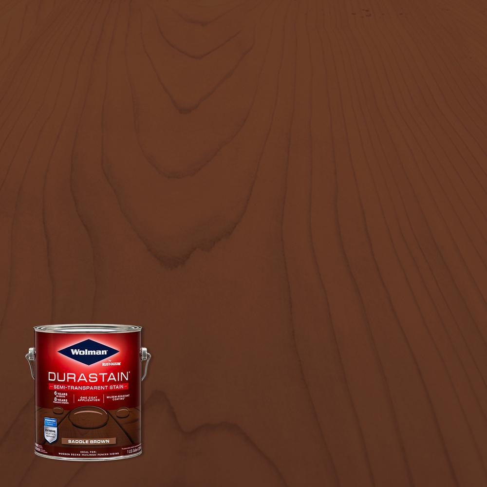 1 gal. Durastain Saddle Brown Exterior Wood Semi-Transparent Stain (4-Pack)