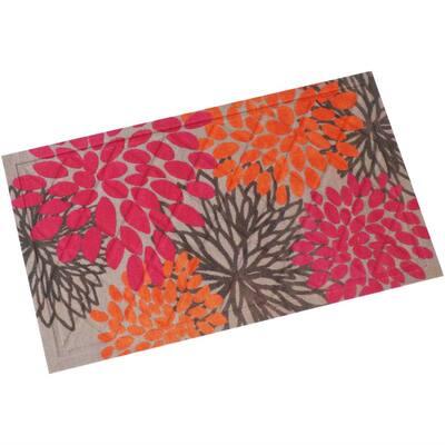 Pink/Orange Floral 17.5 in. x 29.5 in. Kitchen Floor Mat