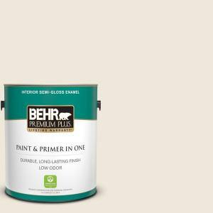 Behr Premium Plus 1 Gal Or W12 Mourning Dove Semi Gloss Enamel Low Odor Interior Paint And Primer In One 305001 The Home Depot