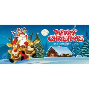 7 ft. x 16 ft. Santa's Take off Christmas Garage Door Decor Mural for Double Car Garage
