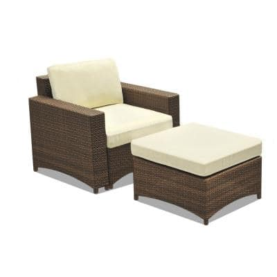 Studio Shine 2-Piece Metal Frame Wicker Outdoor Patio set of chair and ottoman with Beige Cushions