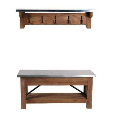 Millwork 40 in. Wood and Zinc Metal Bench with Coat Hook Shelf