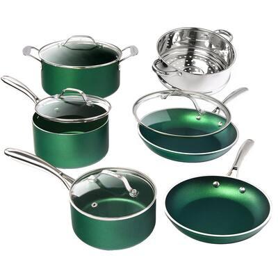 10-Piece Emerald Green Aluminum Ultra-Durable Triple Layer Non-Stick Cookware Set