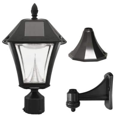 Baytown II Black Resin Outdoor Integrated LED Solar Post/Wall Light with Bright-White LEDs