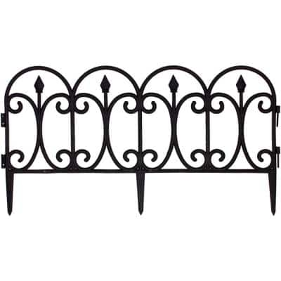 26.5 in. x 16 in. Black Plastic Victorian Wrought Iron Style Fencing (12-Pack, 26 ft.)