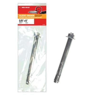 5/8 in. x 6 in. Zinc-Plated Steel Hex Head Sleeve Anchor