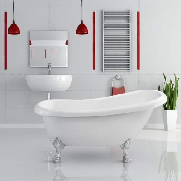Streamline 61 In Acrylic Clawfoot Non Whirlpool Bathtub In White N480ch The Home Depot