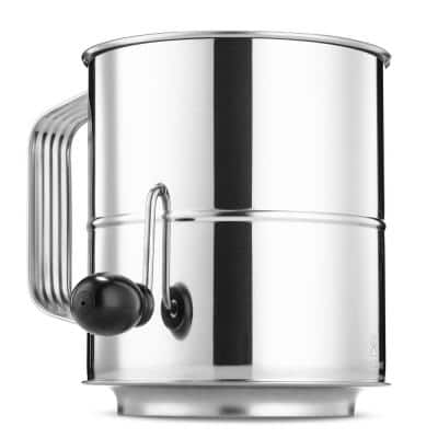 Stainless Steel Flour Sifter 5-Cup with Crank Handle