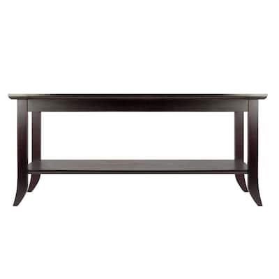 Genoa 40 in. Espresso Medium Rectangle Wood Coffee Table with Shelf
