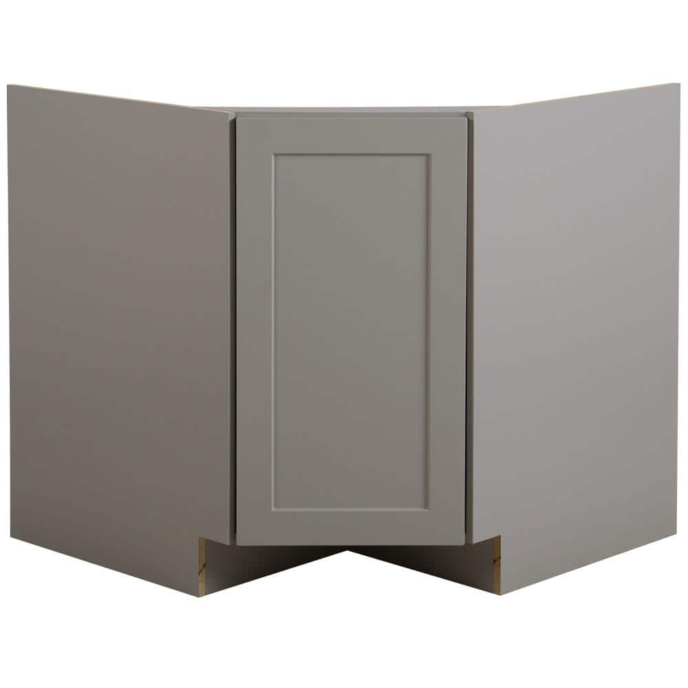 Hampton Bay Edson Gray Shaker Stock Partially Assembled Corner Sink Base Cabinet 36 In X 34 5 In X 24 5 In Cm3635c Kg The Home Depot
