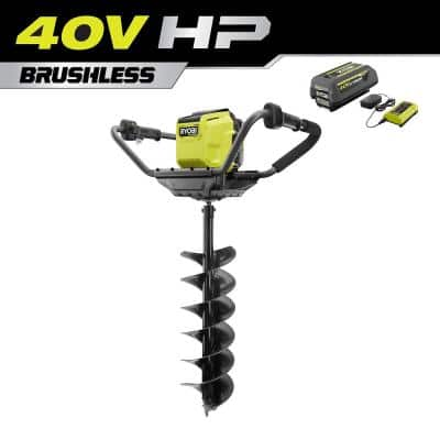 40V HP Brushless Cordless Earth Auger with 8 in. Bit with 4.0 Ah Battery and Charger