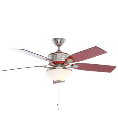 Santa Cruz 52 in. Indoor Brushed Nickel Ceiling Fan with Red Accents and Light Kit