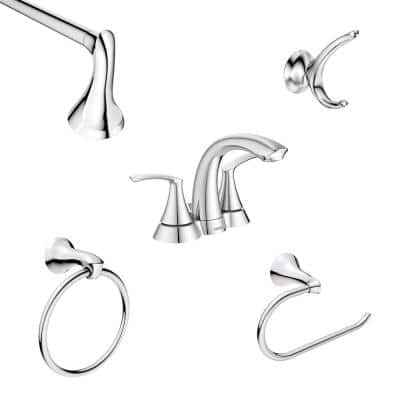 Darcy 4 in. Centerset 2-Handle Bath Faucet with 4-Piece Hardware Set in Chrome (18 in. Towel Bar)